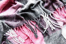 Crumpled Warm Woven Pink And Gray Plaid