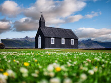 Church In Iceland. Famous Place And Historical Architecture. Landscape In Day Time. Iceland Travel Image