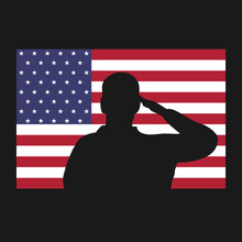 Saluting Silhouette On American Flag Icon. Veterans Day Or Memorial Day Proud Patriot Concept. Vector Illustration.