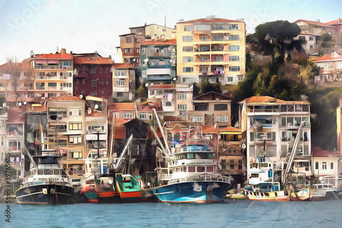 Fototapeta Cityscape of Istanbul from the water colorful painting looks like picture, Turkey