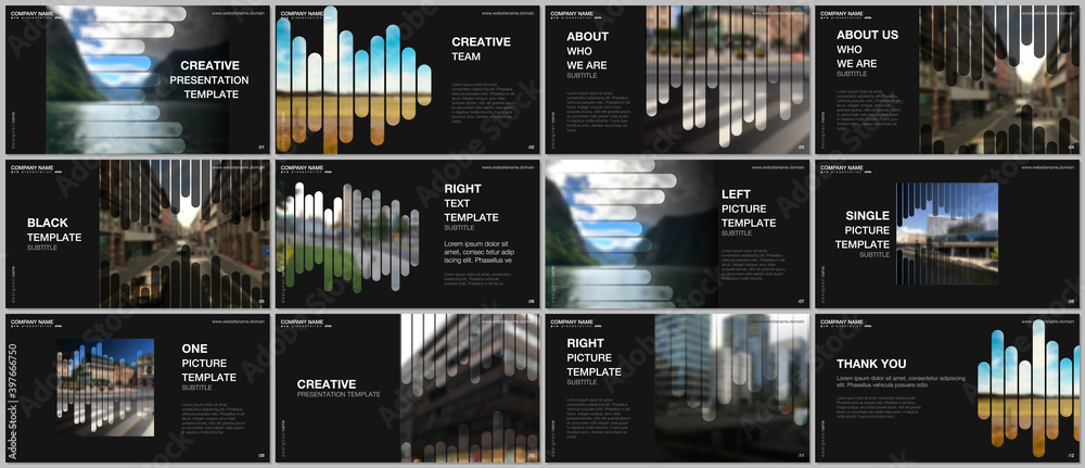 Fototapeta Presentation vector templates, multipurpose template for presentation slide, flyer, brochure cover, infographic report. Background template with lines, photo place for business design. Minimal style.