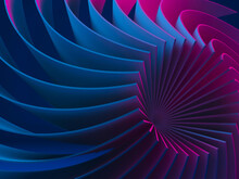 Abstract Digital Graphic Pattern, Neon Colored 3d Spiral