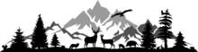 Landscape Mountain Tree Animals Silhouette