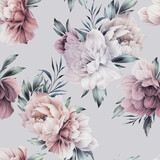 Seamless floral pattern with peonies flowers on summer background, watercolor illustration. Template design for textiles, interior, clothes, wallpaper - 397677132