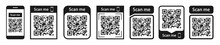 QR Code Set. Scan Qr Code Icon. Template Scan Me Qr Code For Smartphone. QR Code For Mobile App, Payment And Phone. Vector Illustration.