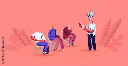 Fotografie, Obraz Man Read Book Aloud to People Sit around