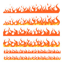 Flame Borders In Cartoon Style, Vector Set