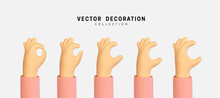 Set Of Hands Raised To The Top. Hand Group. Men And Women Arms Decoration 3d Object Isolated. Vector Illustration