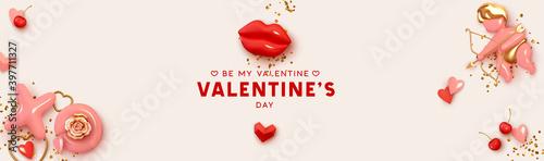 Papel de parede Happy Valentines Day horizontal header for website