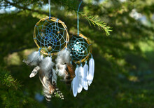 Two Beautiful Boho Dreamcatchers With Feathers Hanging Among Green Leaves In The Forest With Copy Space.