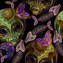 Embroidery. Alien Head, Butterflies And Fish Bone, Seamless Pattern. Pop Culture Style, Gothic Art. UFO Concept. Funny Template For Clothes
