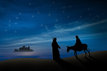 Christmas Nativity Scene Of Joseph And Mary With Donkey On The Way To Bethlehem