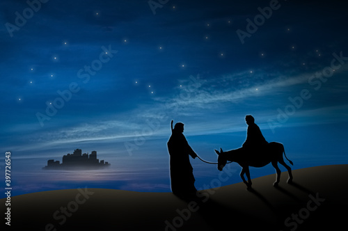 Photographie Christmas nativity scene of Joseph and Mary with donkey on the way to Bethlehem