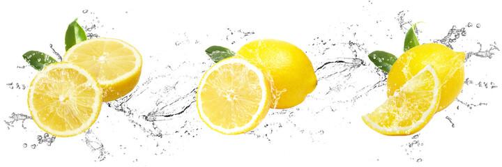 Fresh Lemons with water splash on isolated white background