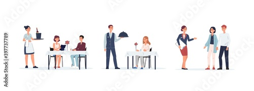 Fototapeta Restaurant staff set - cartoon isolated people serving clients obraz