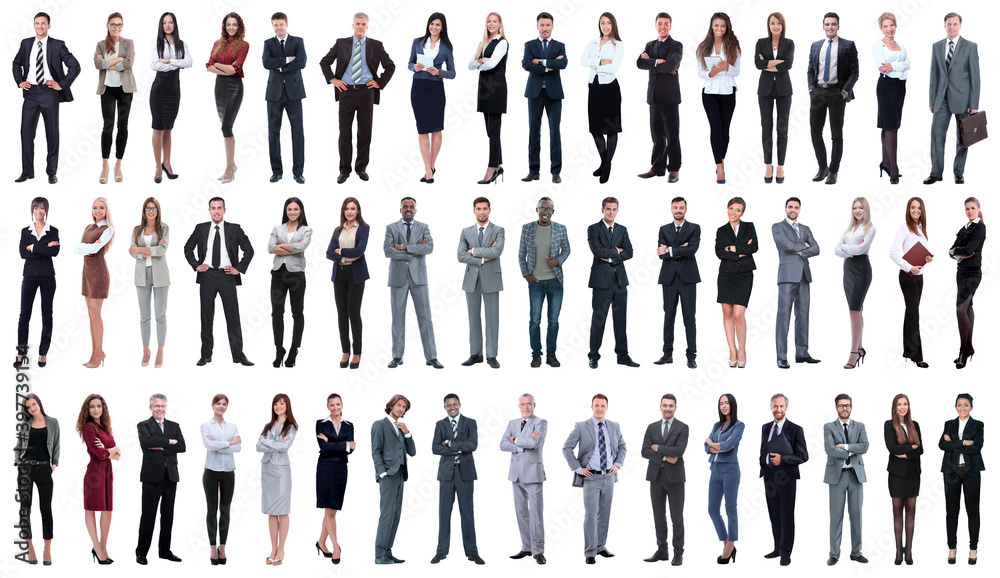 Fototapeta collage of a variety of business people standing in a row