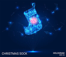 Hologram Of A Christmas Sock. Christmas Sock Made Of Polygons, Triangles Of Points And Lines. Christmas Sock Low Poly Compound Structure. The Technology Concept.