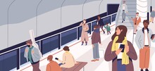 People Waiting For Train On Metro Platform. Passengers Standing And Sitting In Modern Subway Station. Male And Female Characters Using Urban Public Transport. Daily City Life. Flat Vector Illustration