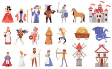Medieval People - Isolated Set Of Cartoon Fairytale Characters