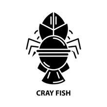 Cray Fish Icon, Black Vector Sign With Editable Strokes, Concept Illustration