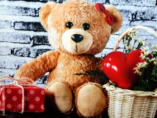 bear with red heart and gift box #397744349