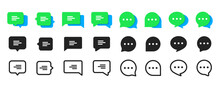 Set Of Chat Message Bubbles Vector Icon. Communication Icons. Talk Bubble, Dialog. Web Icon Set. Online Communication. Conversation, SMS, Notification, Group Chat. Chatting Icons In Different Styles