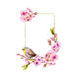 Polygonal Gold foil blossom cherry rectangle frame. Watercolor sakura branches, gold polygonal wreath. Spring holidays. Geometry frames for wedding, invitation, greenting cards, bridal shower
