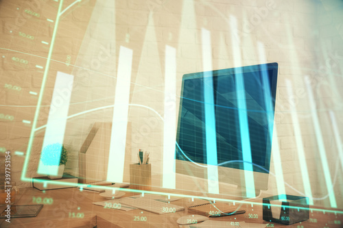 Fototapety, obrazy: Double exposure of stock market graph drawing and office interior background. Concept of financial analysis.
