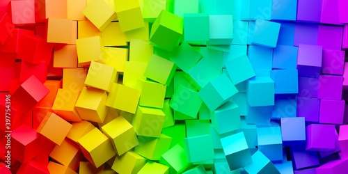 Background from heap of rainbow or spectrum colored cubes, creativity or toy concept, flat lay top view from above