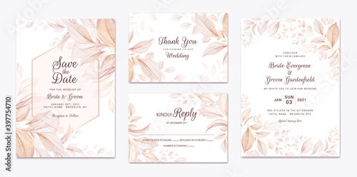 Cuadros en Lienzo Wedding invitation template set with brown leaves decoration