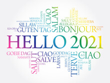 Hello 2021 Word Cloud In Different Languages Of The World