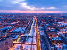 Aerial City Winter View With Crossroads And Roads, Houses, Buildings, Parks. Helicopter Drone Shot. Wide Panoramic Image. Kharkiv, Ukraine