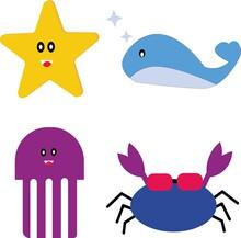Doodle Kawaii Character. Underwater Animal Set.