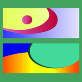 Two variants of vector banners with multicolored abstract shapes.