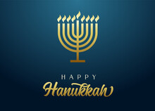 Happy Hanukkah Golden Menorah With Lettering, Candles And Flame Light On Blue Background. Jewish Holiday Hanuka Vector Illustration