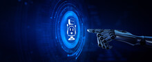 Chatbot Chat Bot Customer Service Automation. Robotic Hand Pressing Button 3d Render.