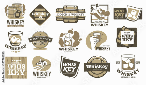Valokuva Whiskey brewing company and production labels