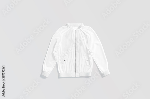 Blank white bomber jacket mockup lying, gray background Fototapet
