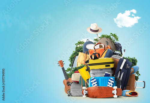 Vacation and travel concept with a suitcases and other accessories. Time to travel