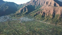 Aerial Of Popular Sembalun Landscape With Agriculture And Volcanic Mountains