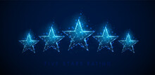 Low Poly 5 Stars Raiting. Abstract Blue Stars.