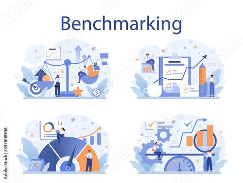 Obraz Benchmarking concept set. Idea of business development and improvement. - fototapety do salonu