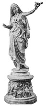 Bronze Statuette Of An Antique Woman - Vestal Virgin. Illustration Of The 19th Century. Germany. White Background.