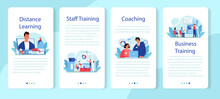 Staff Training Mobile Application Banner Set. Business Personnel