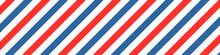 Barber Colored Liner Background. Blue Red Vector Pattern. Diagonal Stripe Pattern.