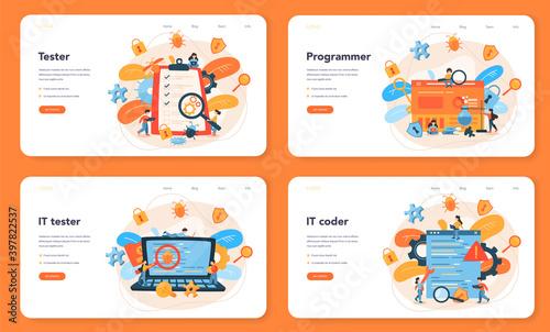 Testing software web banner or landing page set Fototapeta
