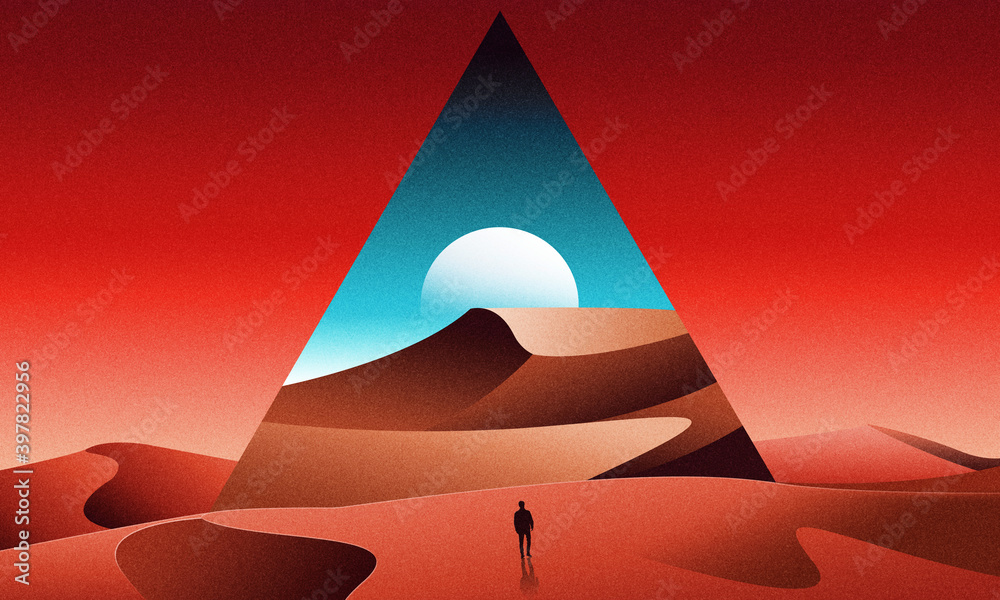 Fototapeta 80s retrowave synthwave lost in desert with pyramids  landscape