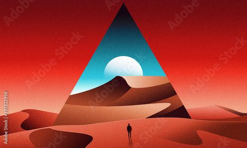 Fotografía 80s retrowave synthwave lost in desert with pyramids  landscape