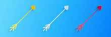 Paper Cut Cupid Arrow Heart, Valentines Day Cards Icon Isolated On Blue Background. Paper Art Style. Vector.
