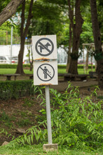Pair Of No Dog Sign And Littering Sign In The Park